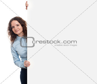 business woman holding white blank billboard sign