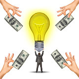 Idea concept with businessman holding light bulb