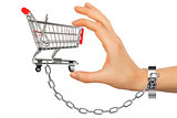 Chained hand holding shopping cart