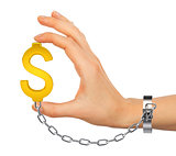 Chained hand holding dollar icon