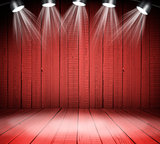 Illuminated empty concert stage
