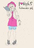 I love reading books. Fashionable girl