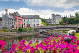 riverside view of kilkenny castle town and bridge