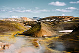 Landscape with moss and snow in Iceland. Mountain tourism