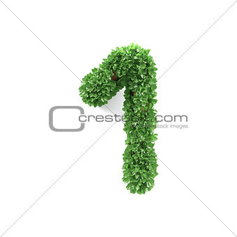 Green leaves 1 one ecology digits alphabet font