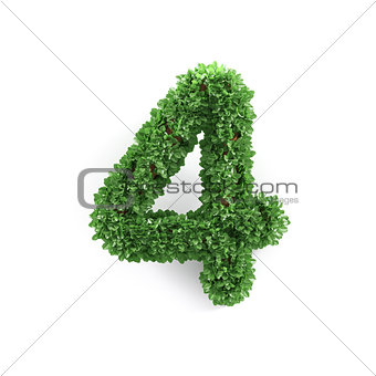 Green leaves 4 four ecology digits alphabet font