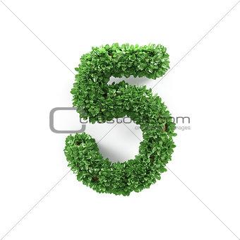 Green leaves 5 five ecology digits alphabet font