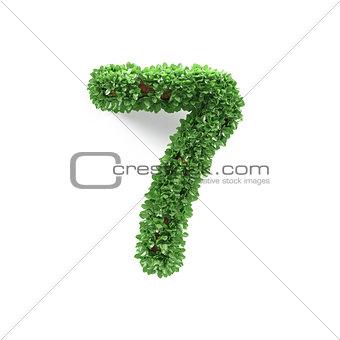 Green leaves 7 seven ecology digits alphabet font