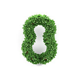 Green leaves 8 eight ecology digits alphabet font