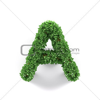 Green leaves A ecology letter alphabet font