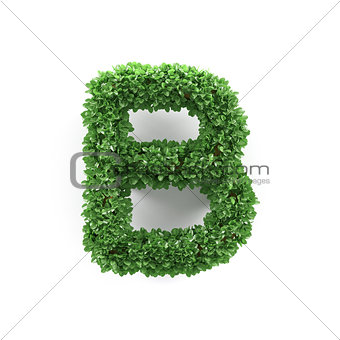 Green leaves B ecology letter alphabet font