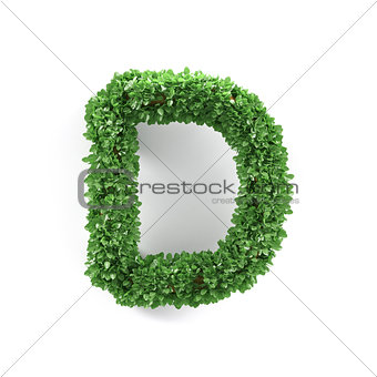 Green leaves D ecology letter alphabet font