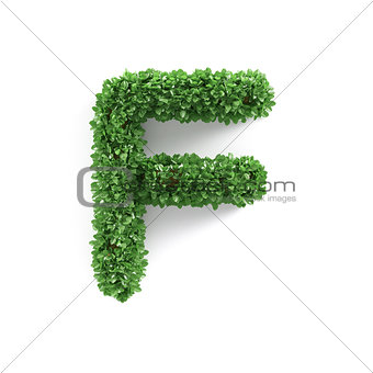 Green leaves F ecology letter alphabet font