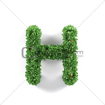 Green leaves H ecology letter alphabet font