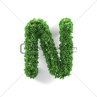 Green leaves N ecology letter alphabet font