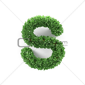 Green leaves S ecology letter alphabet font