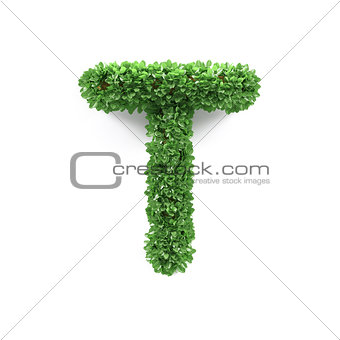 Green leaves T ecology letter alphabet font