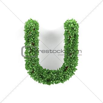 Green leaves U ecology letter alphabet font