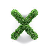 Green leaves X ecology letter alphabet font