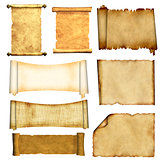 Set of old parchments