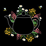 Herbs around teapot on a black layer with flying bees