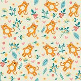 Orange cat and flowers, seamless pattern
