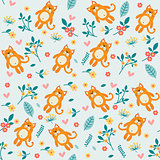 Orange cat and flowers, seamless pattern