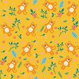 Orange cat and flowers, seamless pattern on yellow background
