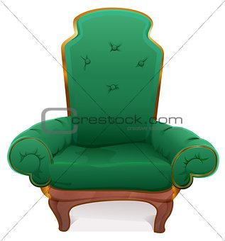 Green armchair. Cushioned furniture