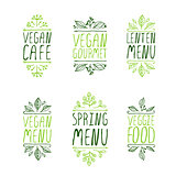 Hand-sketched typographic elements. Restaurant labels.