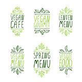 Hand-sketched typographic elements. Restaurant labels.