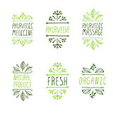 Hand-sketched typographic elements. Ayurveda product labels.