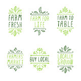 Hand-sketched typographic elements. Farm product labels.