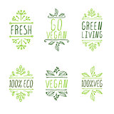 Hand-sketched typographic elements. Vegan product labels.