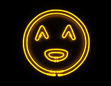 Smiley face 3d render yellow neon icon on black background
