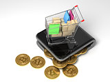 Concept Of Digital Wallet With Bitcoins And Shopping Cart