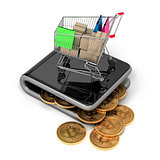 Virtual Wallet With Bitcoins And Shopping Cart
