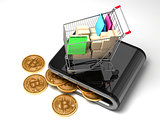 Digital Wallet With Bitcoins And Shopping Cart