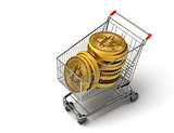 Concept Of Purchased Bitcoins In The Shopping Cart