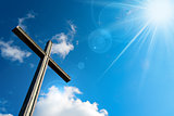Christian Cross Against a Blue Sky