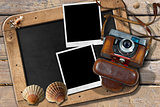 Beach Vacations - Vintage Camera and Seashells