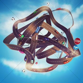 3D Rendering Road traffic tangle
