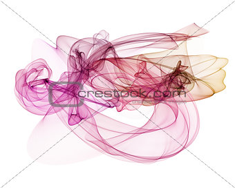abstract red, line, wave, fabric isolated on white background raster illustration