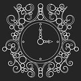 Vector old vintage clock on black background