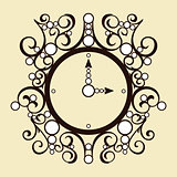 Vector old vintage clock on beige background