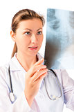 Vertical portrait of doctor with x-ray in hands