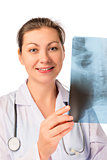 Smiling doctor radiologist with an X-ray in hands