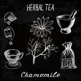 Chamomile herbal tea. Chalk board set of vector elements