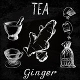 Ginger herbal tea. Chalk board set of vector elements
