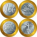 vector money gold coin one euro
